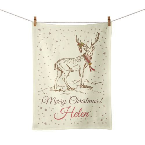 Personalised Christmas Reindeer Tea Towel - Vintage Design